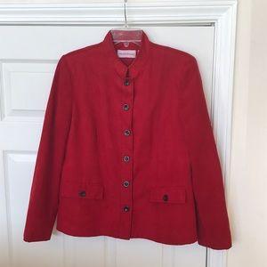 Beautiful soft faux suede red blazer jacket